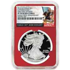 2016-W Proof $1 American Silver Eagle NGC PF70UC First Day of Issue Red Core Bla