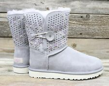 UGG Australia Bailey Button Tehuano Pencil Lead Grey Short Sheepskin Boots US 8