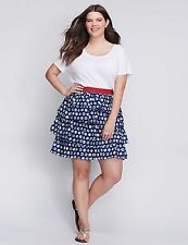 Lane Bryant Women's Blue & White Dots Tiered Skirt Size 14/16