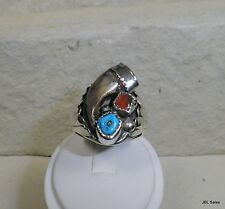 HEAVY OLD PAWN NAVAJO STERLING FAUX  BEAR CLAW TURQUOISE CORAL RING SIZE 14
