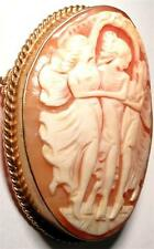 BROOCH VINTAGE 9ct GOLD 3 GRACES CARVED CAMEO SHELL BROOCH -OUTSTANDING