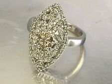 AFFINITY White Champagne Diamond ~0.25 TCW Estate RING Sterling Silver Sz 6