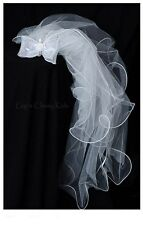 New Flower Girls White Bow Comb Veil Headpiece First Communion Christening V002