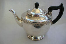 A VINER'S SILVER PLATED TEAPOT TEA POT ON  RAISED PEDESTAL BASE BLACK HANDLE