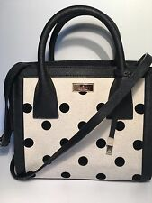 NWT KATE SPADE Small Meriwether Elsie Street Fabric  Bag / Black Dotted