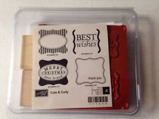 Stampin Up Cute & Curly Christmas Thank You  Wood Unmounted Rubber Stamp Set NEW