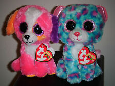 "Ty Beanie Boos Set - AUSTIN & SYDNEY ~Claires Exclusive Dog & Leopard ~ 6"" ~ NEW"