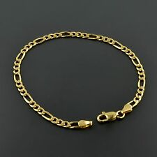 14K YELLOW GOLD OVER .925 STERLING SILVER CLASSIC FIGARO LINK 8 INCH BRACELET