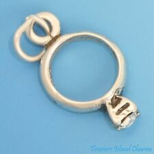 APRIL BIRTHSTONE RING with CLEAR CZ 3D .925 Solid Sterling Silver Charm