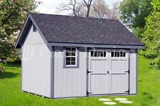 Shed Plans / Outdoor Building Blueprints 12' x 12' Gable Roof Style #D1212G