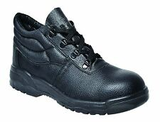 Mens Black Safety Work Boots Leather Steel Toe Cap & Midsole Size 3-13