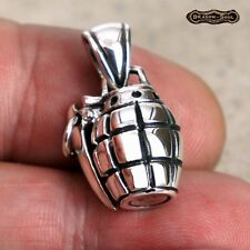 925 Sterling Silver - MK2 Pineapple Hand Grenade Pendant Charm - NEW Dragon Soul
