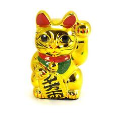 """Japanese Welcome 6"""" Tall Golden Lucky Forturn Ceramic Maneki Neko Cat/Coin Bank"""