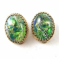 Signed WHITING DAVIS CO Vintage Clip Earrings Green Iridescent Foil Glass R169