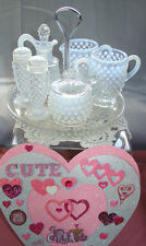 """MNT+PRF~40s""""FENTON GLASS""""FRNCH WHITE""""OPALESCENT""""HOBNAIL""""W/TRAY~7pc CONDIMENT SET"""