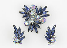 Juliana Brooch Earrings - Montana Blue Navettes & Blue AB Rhinestones