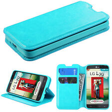 Wallet Leather Phone Cover Case for LG OPTIMUS L70 MS323 EXCEED 2 II Blue Book