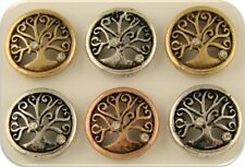 2 Hole Beads Tree of Life Burnished 3T Silver Copper Gold Filigree Sliders QTY 6
