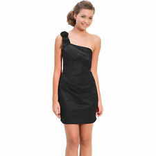 Draped Satin One Shoulder Formal Cocktail Evening Dress Prom Party Wear Black