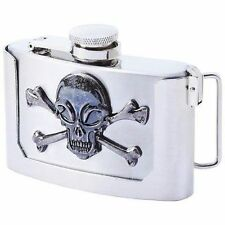Belt Buckle Skull Crossbones Stainless Steel 3oz Hip Flask Biker Liquor HIP-0030
