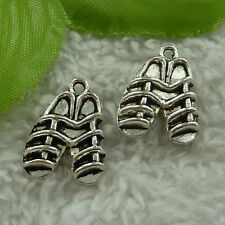 free ship 200 pieces tibet silver shoes charms 20x15mm #2957