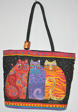 LAUREL BURCH Kitty CATS Black RED Gold CANVAS Tote BAG Beach Sun & SAND Used