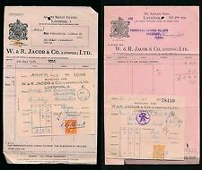 GB 1928 + 1940 JACOB + CO BISCUITS KG5 + KG6 on COMPLETE RECEIPTS + PERFINS