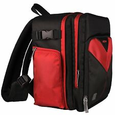 SLR DSLR Camera & Tablet Backpack Bag for Canon Nikon Sony Panasonic Black/Red