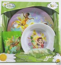 Tinkerbell Disney Fairy Girls Mealtime Dish Set 3pc Plate cup Bowl BPA Free 3+