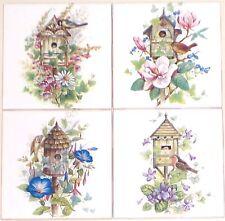 """Bird House Ceramic Tile Magnolia Flower set of 4 Assort 4.25"""" Kiln Fired Decor"""