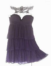FREE BEADs Flapper Costume Adult Roaring 20s Halloween Purple Dress & Mask M