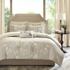 BEAUTIFUL MODERN CHIC BEIGE IVORY LEAF BED IN BAG COMFORTER SET KING & QUEEN SZS