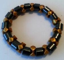 Modeschmuck Armband Magnetarmband Hämatitsteine Blutsteine 8mm Wheel gold #013