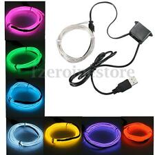 Neon LED String Strip Light Glow EL Wire Rope Tube Car Dance Party + Controller