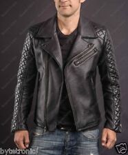 Mens Classic Black Brando Quilted Handmade Motorcycle Biker Real Leather Jacket