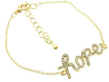 Dainty GP Chain Clear Rhinestone HOPE message Bracelet -for Charity Item