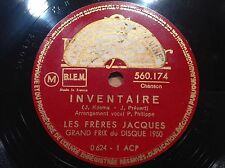 78 trs-rpm-Les FRERES JACQUES - PREVERT KOSMA-INVENTAIRE -POLYDOR 560.174