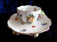 MEISSEN DRESDEN MINIATURE DEMI APPLIED 3D FLOWERS & INSECTS  FOOTED CUP & SAUCER