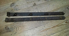 """Pair of Antique Strap Hinges Hand Forged - 2-1/4"""" X 32""""-34"""" Barn Door Hinges"""