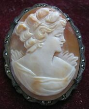 c. 1930s European 900 Silver & Marcasite Pendant Brooch SHELL CAMEO Up Hair Do