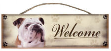 "Bulldog ""Welcome"" Rustic Wall Sign Plaque Gifts Home Pets Dogs"