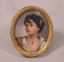Antique Painting On Porcelain Plaque Little Boy Gilt Metal Easel Back Frame