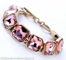 ROSE BLUSH PINK SQUARE CRYSTAL RHINESTONE Chunky Gold Link Tennis Cuff Bracelet