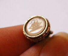 Vintage Antique VICTORIAN Gold Cased Fob Seal Charm w/ White Agate Engraved Ship