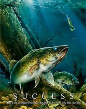 Walleye Fishing Motivational Poster Art Vintage Fishing Lures Rods Reels  MVP317