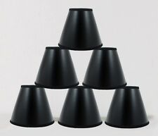 "Urbanest Black Parchment Chandelier Lamp Shades w/ Gold Liner 3""x6""x5"" Set of 6"