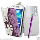 FLORAL LILAC FLIP PU LEATHER CASE COVER POUCH FOR NEW MOBILE PHONES