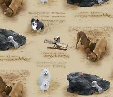 Cuarto gordo Arena Garabatos Perros Estampado Algodón Colchas de retazos de tela Elizabeths Studio