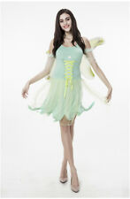 Tinker Bell Fairy Pixie Green Dress Up Cosplay Halloween Women Adult Costume