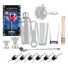 16 Piece Bar Shaker Set w/ Bartender Book Cocktail Mixer Mixing Glass Party Kit